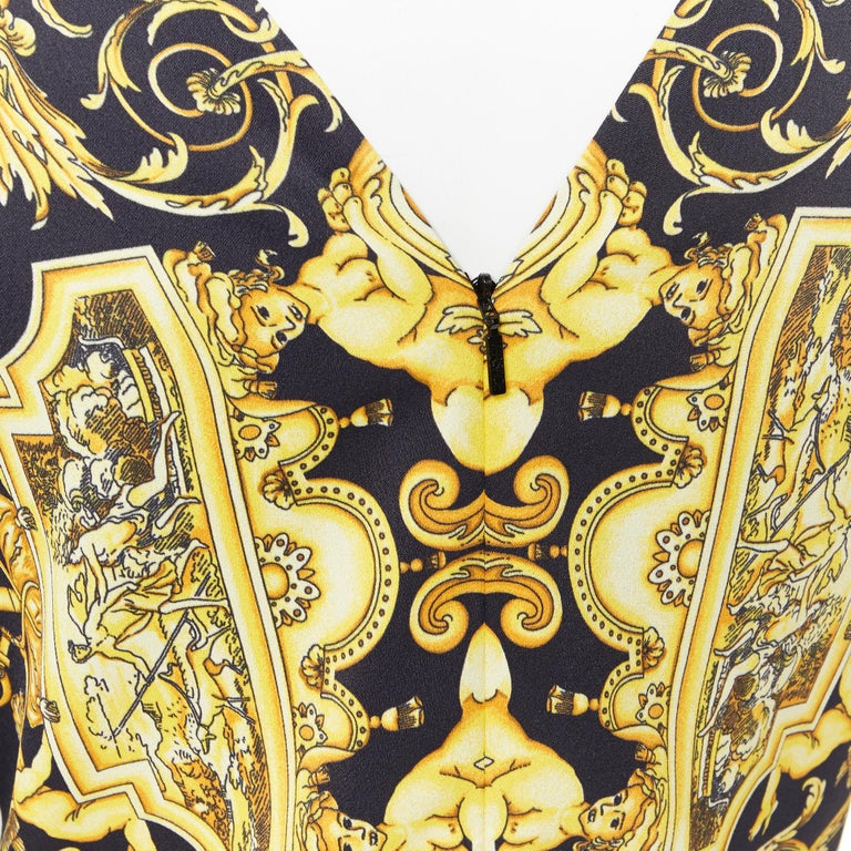 new VERSACE Signature Baroque Cherub Medusa printed viscose shift dress IT40 S For Sale 6