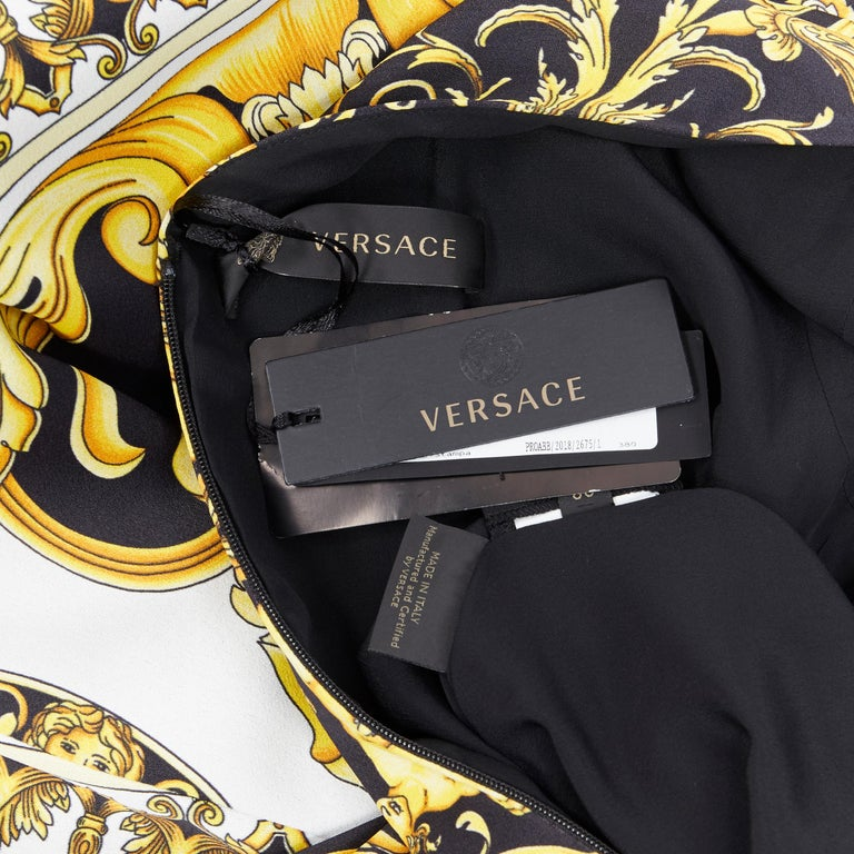 new VERSACE Signature Baroque Cherub Medusa printed viscose shift dress IT40 S For Sale 7