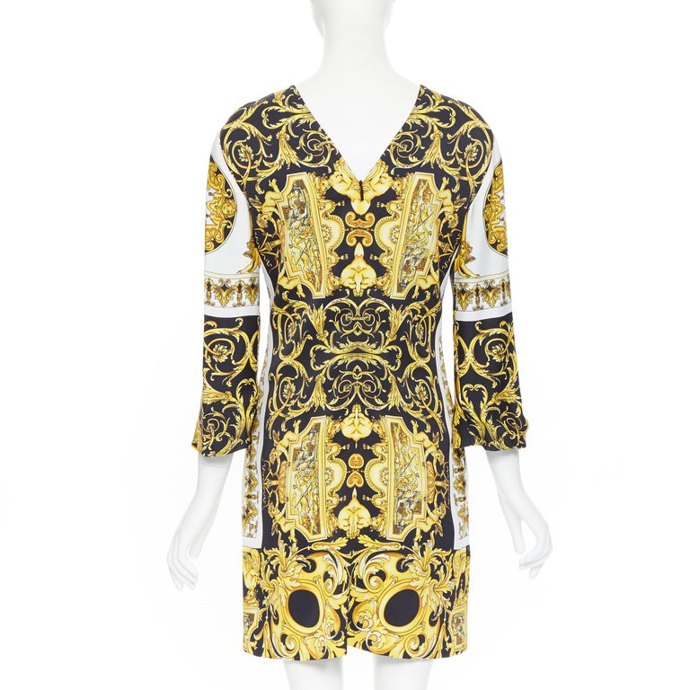new VERSACE Signature Baroque Cherub Medusa printed viscose shift dress IT40 S For Sale 1