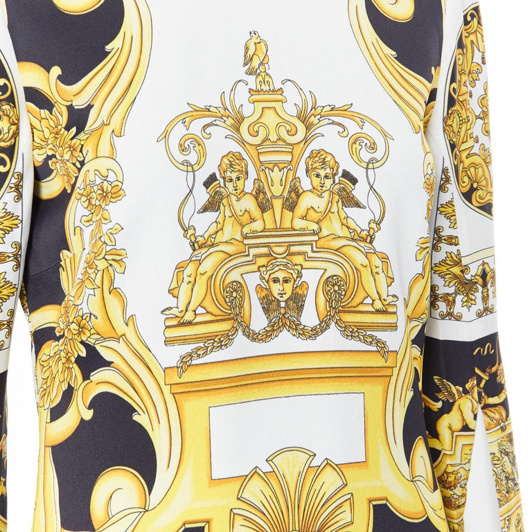 new VERSACE Signature Baroque Cherub Medusa printed viscose shift dress IT40 S For Sale 4