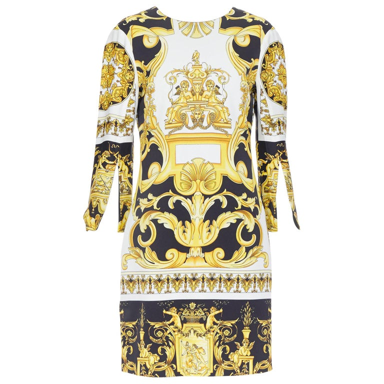 new VERSACE Signature Baroque Cherub Medusa printed viscose shift dress IT40 S For Sale