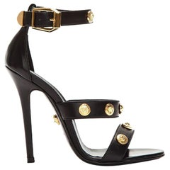 New Versace Signature Gold Tone Medusa Black Leather High Heel Sandals 37.5 40.5