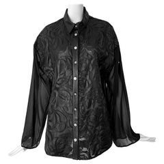 New Versace Silk Cut Out Leather Applique Shirt IT42 US 4-6
