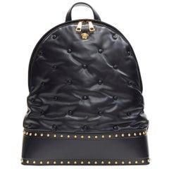 new VERSACE soft calkskin leather gold studded Medusa top zip pillow backpack