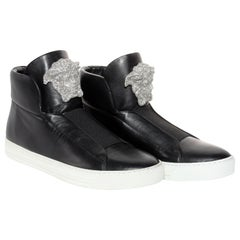 New Versace SoHo Exclusive Crystal Embellished Black Leather Sneakers Size 41