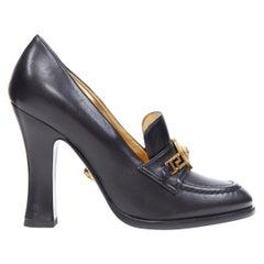 new VERSACE SS18 black leather Medusa chain charm chunky high heel loafer EU36