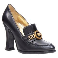 new VERSACE SS18 black leather Medusa chain charm chunky high heel loafer EU37