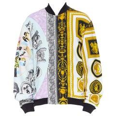 new VERSACE SS18 mixed gold baroque pastel face print zip up bomber jacket XXL