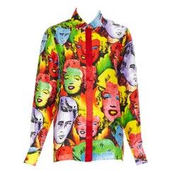 new VERSACE SS18 Runway Tribute Pop Marilyn Monroe James Dean silk shirt IT42 M