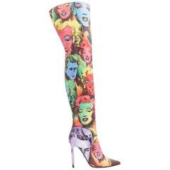 new VERSACE SS18 Tribute 1990 Marilyn Monroe James Dean pop art knee boots EU39