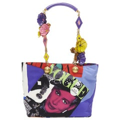 New VERSACE SS18 Tribute 1990 Pop Art Vogue print 3D enamel flower tote bag