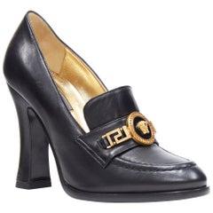 new VERSACE SS18 Tribute black leather gold Medusa greca chain heel loafer EU38