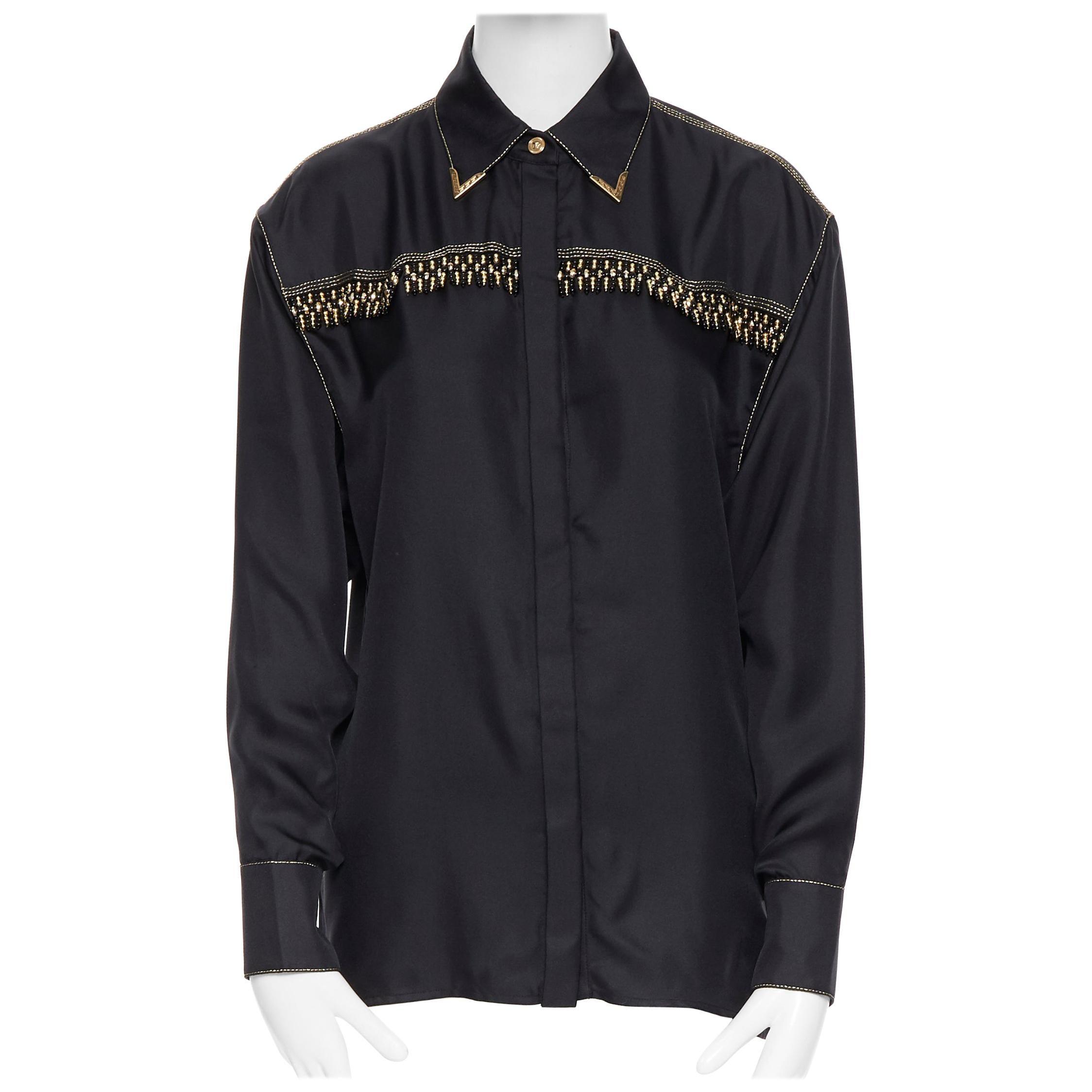 new VERSACE SS18 Tribute Runway black silk gold bead fringe western shirt IT40