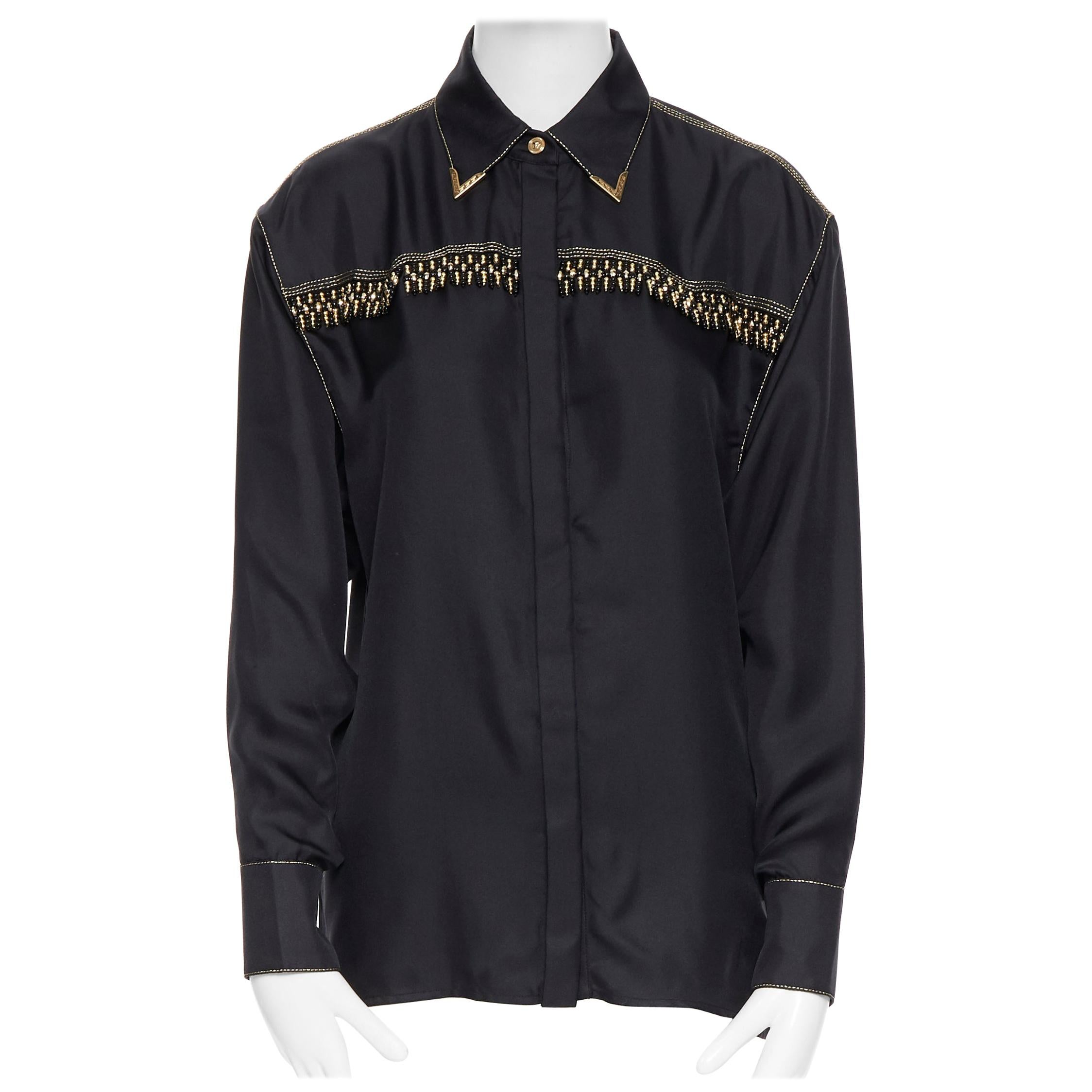 new VERSACE SS18 Tribute Runway black silk gold fringe western collar shirt IT40