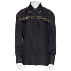 new VERSACE SS18 Tribute Runway black silk gold fringe western collar shirt IT40