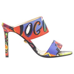 new VERSACE SS18 Vogue print multicolour dual strap open toe mule heel EU38