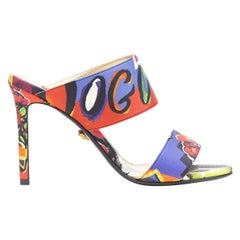 new VERSACE SS18 Vogue print multicolour dual strap open toe mule heel EU39