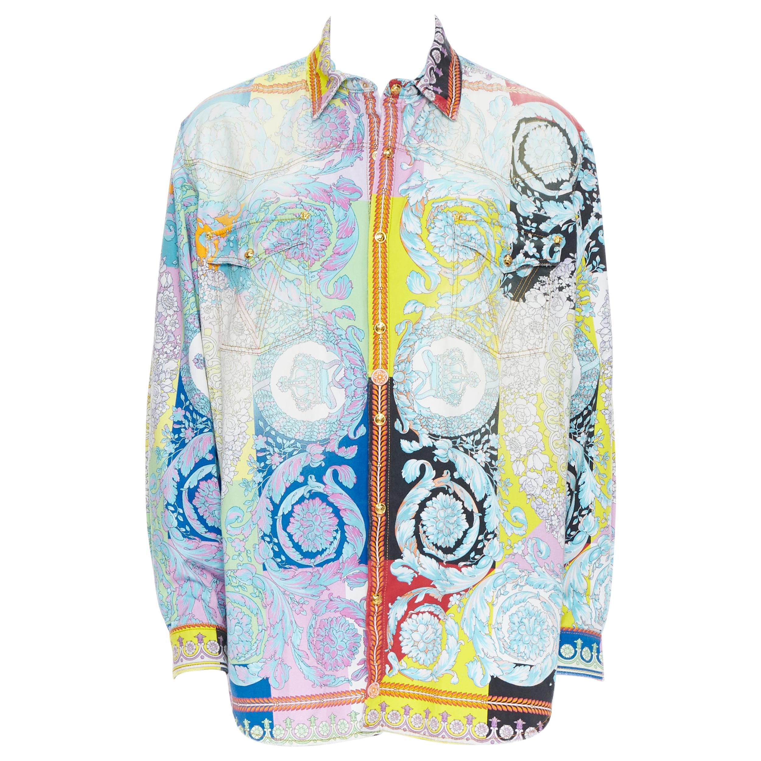 new VERSACE SS19 Techni Baroque distressed cotton Medusa oversized shirt EU38 S