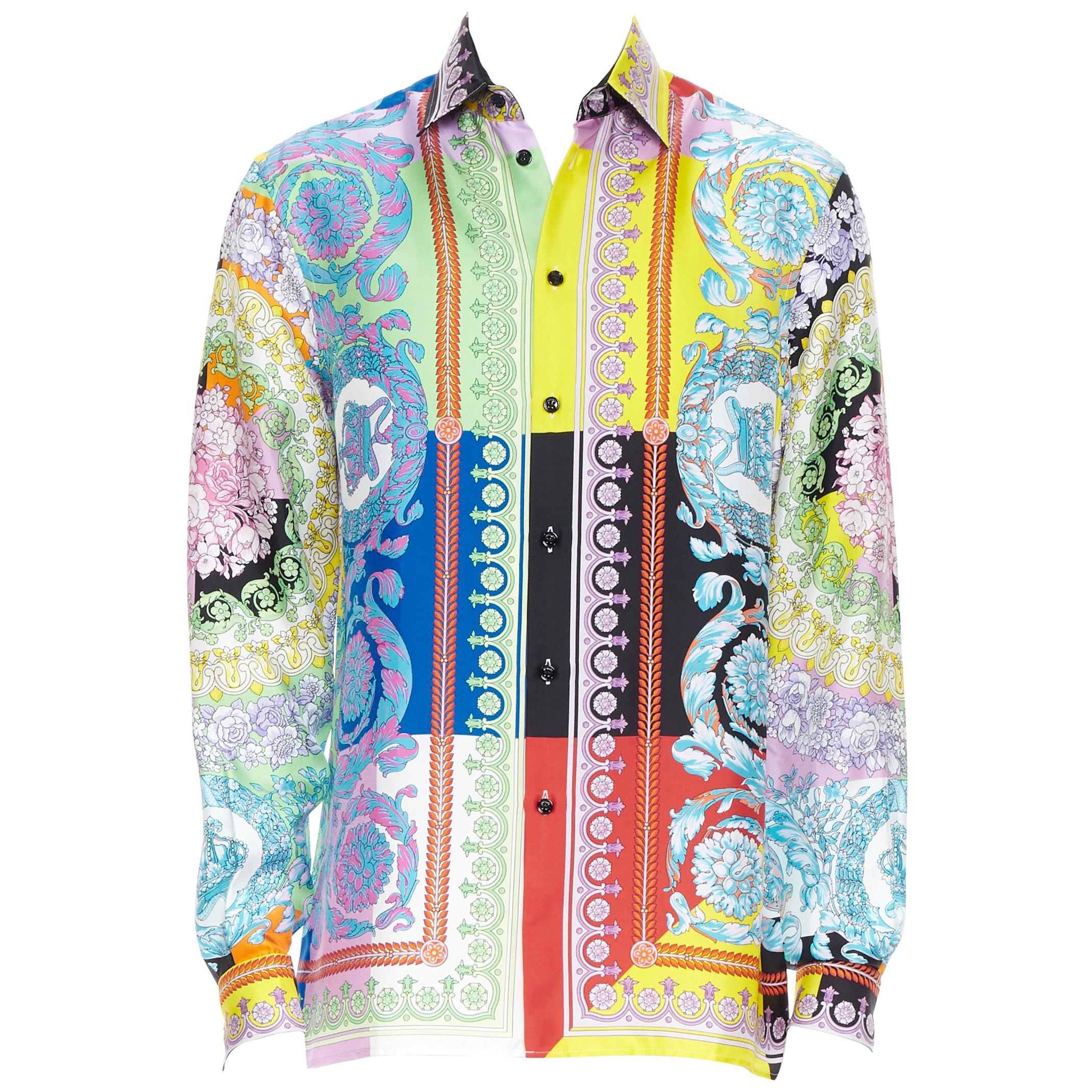 new VERSACE SS19 Techni Baroque floral print 100% silk relaxed  shirt top EU38 S