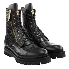 Versace Men's Stamped Croc Army Boots