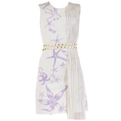 Versace Starfish Plisse Panel Belted Dress