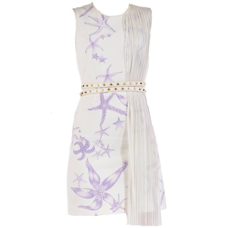 Versace Starfish Plisse Panel Belted Dress