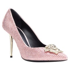 new VERSACE Strass Palazzo pink Swarovski crystal silver Medusa pigalle EU40