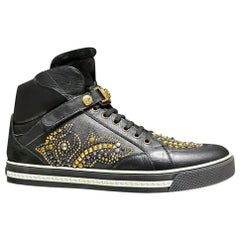 New VERSACE STUDDED HIGH-TOP SNEAKERS with GOLD MEDUSA BUCKLE