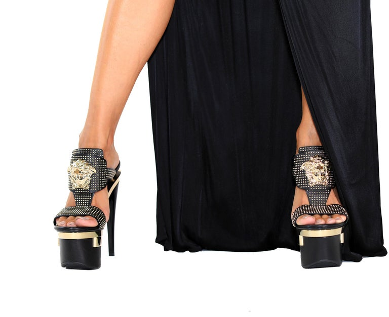 Lead in luxury with this Versace triple platform heel.   IT sizes: 38, 38.5, 39, 40, 41 7