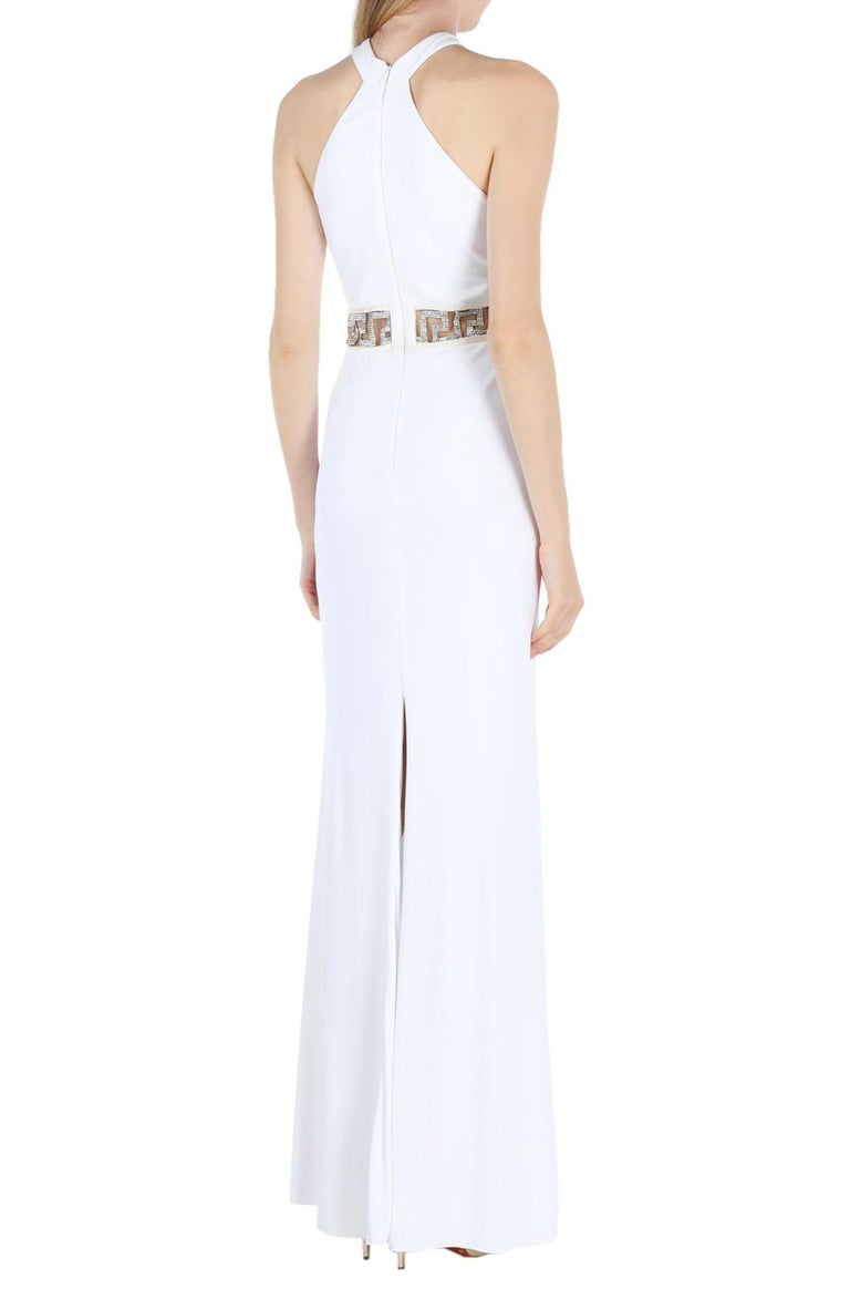New Versace Swarovski Crystals Greek Key White Jersey Wedding Dress Gown It. 42 In New Condition For Sale In Montgomery, TX