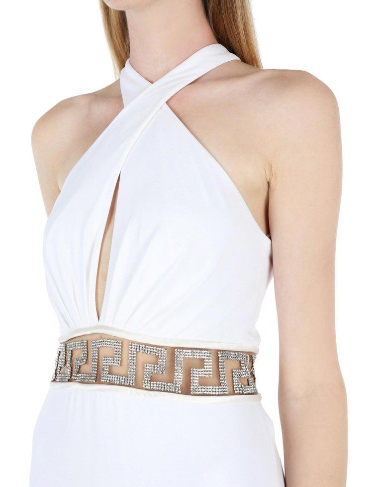 Women's New Versace Swarovski Crystals Greek Key White Jersey Wedding Dress Gown It. 42 For Sale