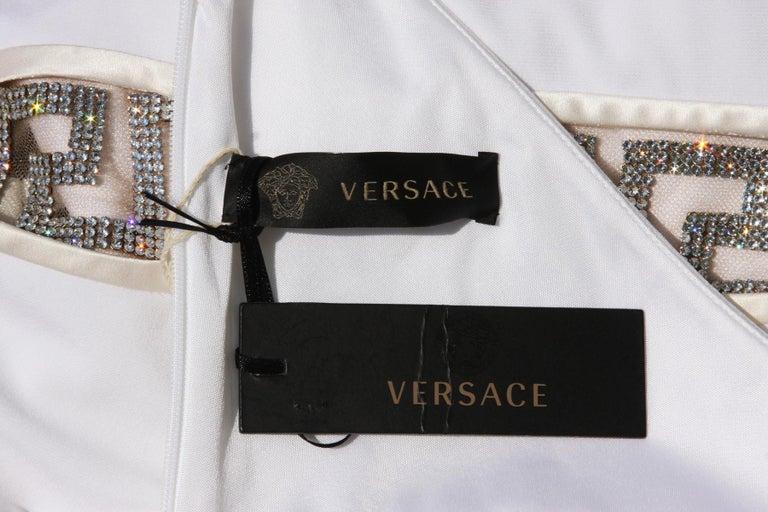 New Versace Swarovski Crystals Greek Key White Jersey Wedding Dress Gown It. 42 For Sale 2