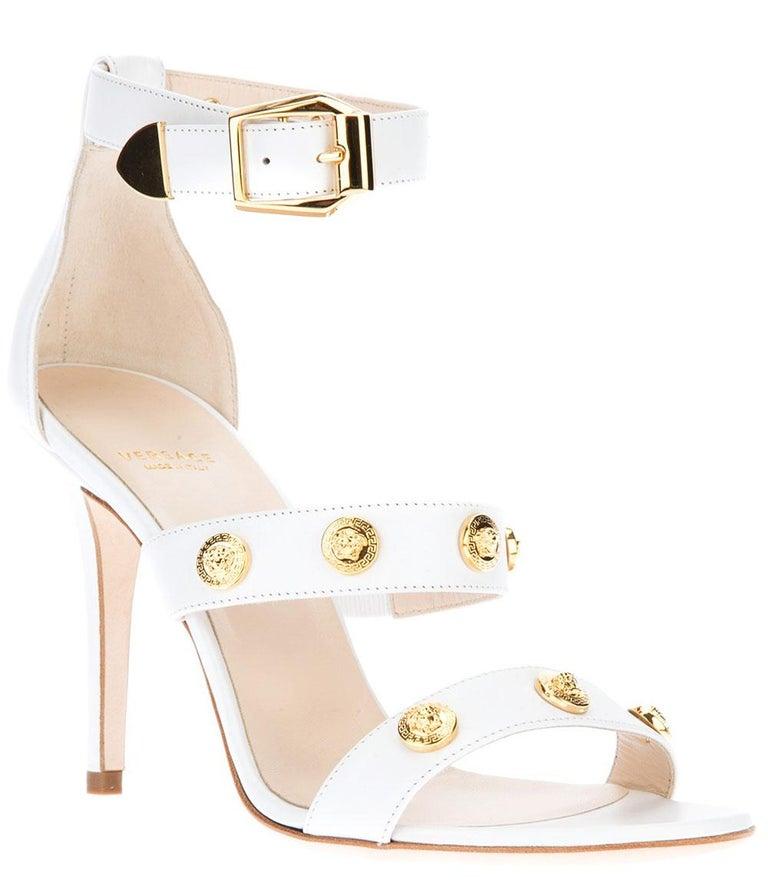 New Versace Swarovski Crystals Greek Key White Jersey Wedding Dress Gown It. 42 For Sale 3
