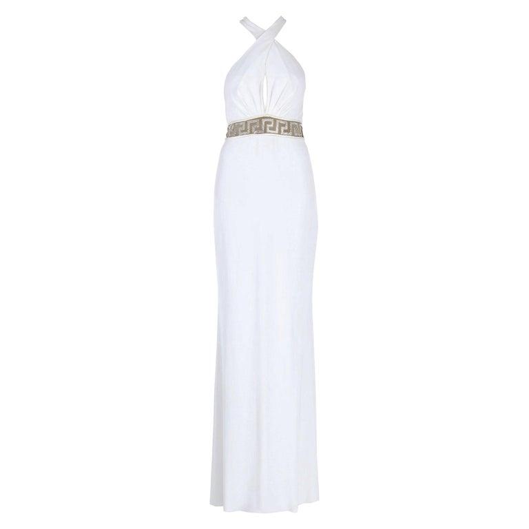 New Versace Swarovski Crystals Greek Key White Jersey Wedding Dress Gown It. 42 For Sale