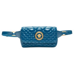new VERSACE teal blue diamond quilted shiney lamb leather medusa small belt bag