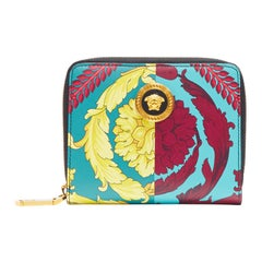 new VERSACE Techni Barocco print leather gold Medusa face zip around wallet