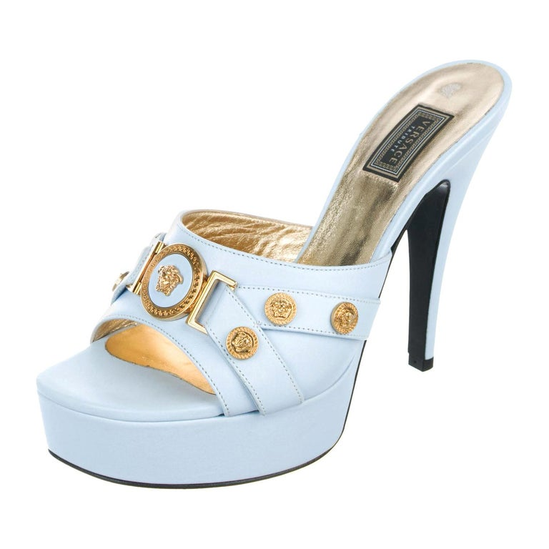 New Versace Tribute Baby Blue Leather Mules Shoes as seen on Lady Gaga 37.5  For Sale