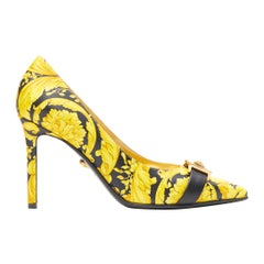 new VERSACE Tribute Baroque 1992 Hibiscus barocco Medusa strap leather heel EU37
