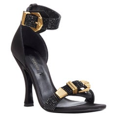 new VERSACE Tribute black strass crystal gold Medusa buckle strappy sandal EU38