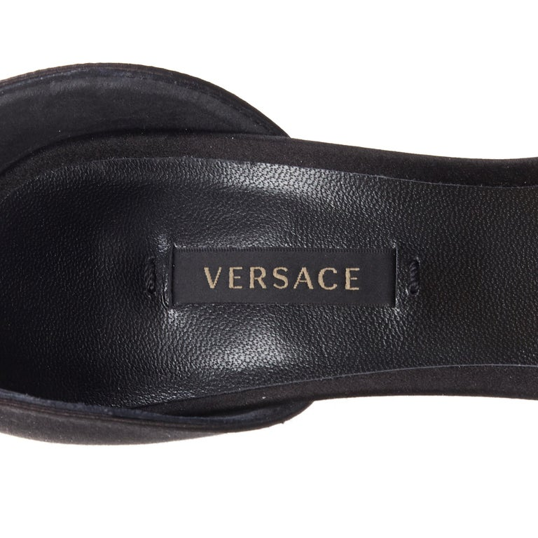 new VERSACE Tribute black strass crystal gold Medusa buckle strappy sandal EU39 For Sale 5