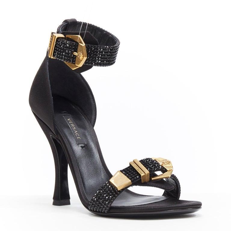Black new VERSACE Tribute black strass crystal gold Medusa buckle strappy sandal EU39 For Sale