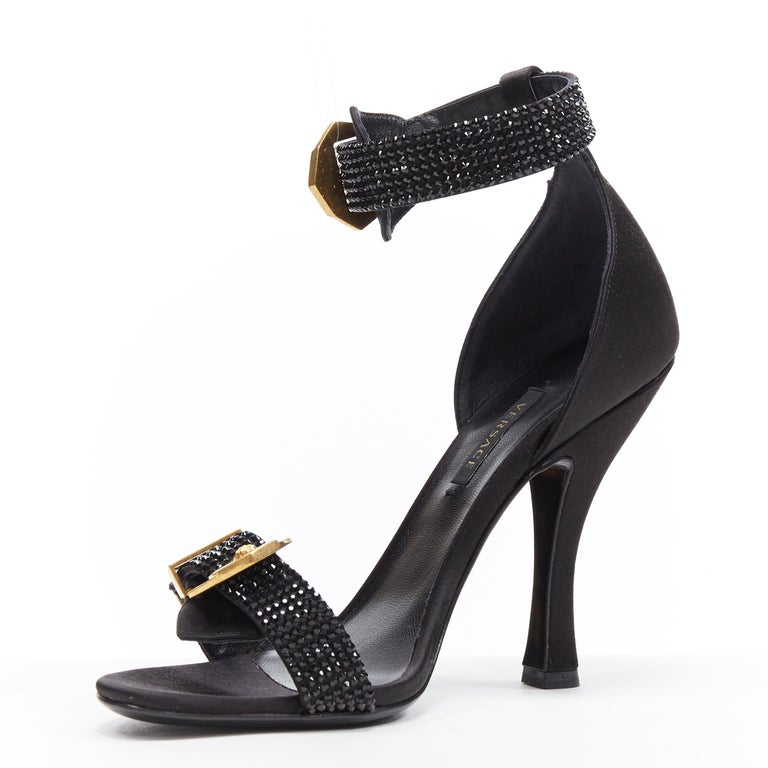 Women's new VERSACE Tribute black strass crystal gold Medusa buckle strappy sandal EU39 For Sale