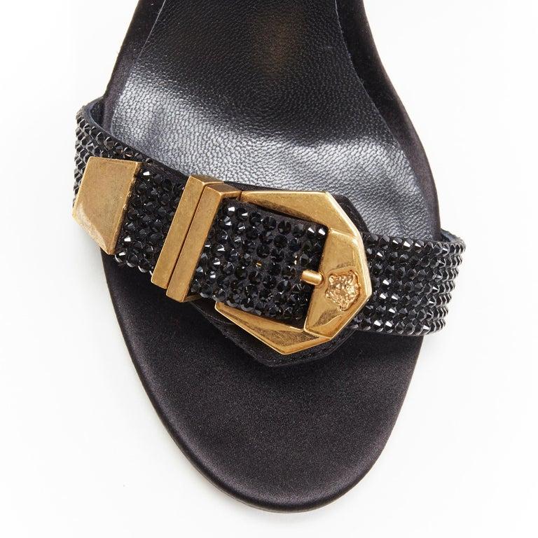 new VERSACE Tribute black strass crystal gold Medusa buckle strappy sandal EU39 For Sale 3