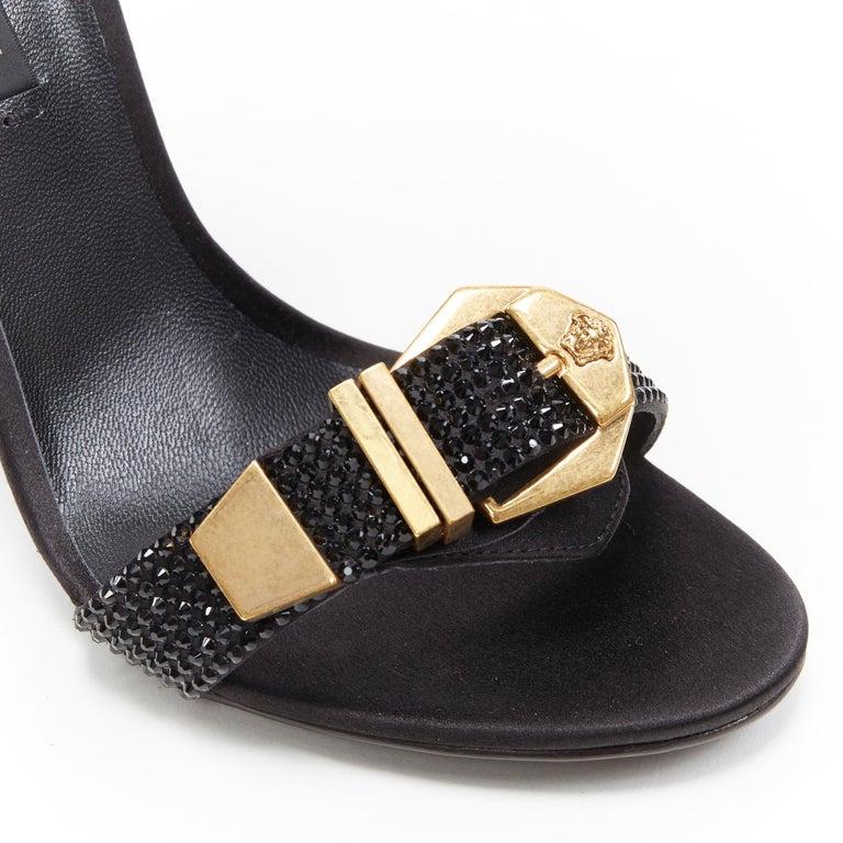 new VERSACE Tribute black strass crystal gold Medusa buckle strappy sandal EU39 For Sale 4
