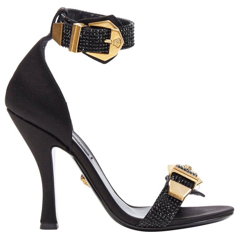 new VERSACE Tribute black strass crystal gold Medusa buckle strappy sandal EU39 For Sale