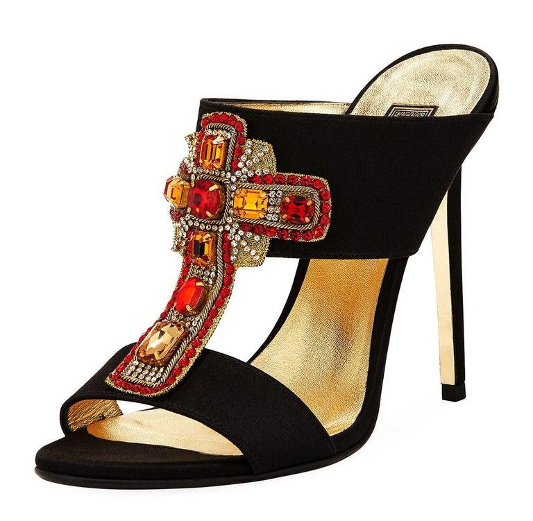 New Versace Tribute Crystal Embellished Cross Mule High Heels  Designer size 38 - US 8 Store Inquiries:#2514690 Versace Tribute Black Satin Mule with Crystal-Embellished Cross. 4.5
