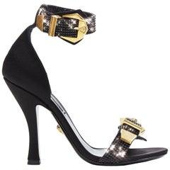New Versace Tribute Crystal Embellished Medusa Buckle Ankle Strap Sandals 38.5