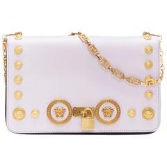 new VERSACE Tribute Icon lilac purple gold Medusa turnlock greca chain flap bag