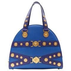 new VERSACE Tribute Medallion gold Medusa coin blue satchel large bowling bag