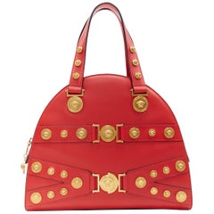 new VERSACE Tribute Medallion Medusa coin red leather satchel large bowling bag